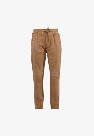 Spodnie skórzane - camel