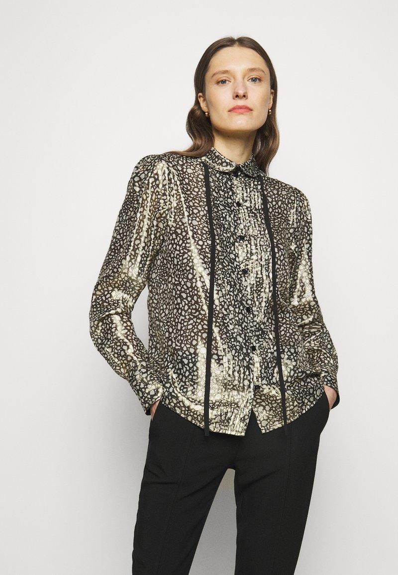 Victoria Beckham - CONTRAST TIE DETAIL  - Button-down blouse - black/gold