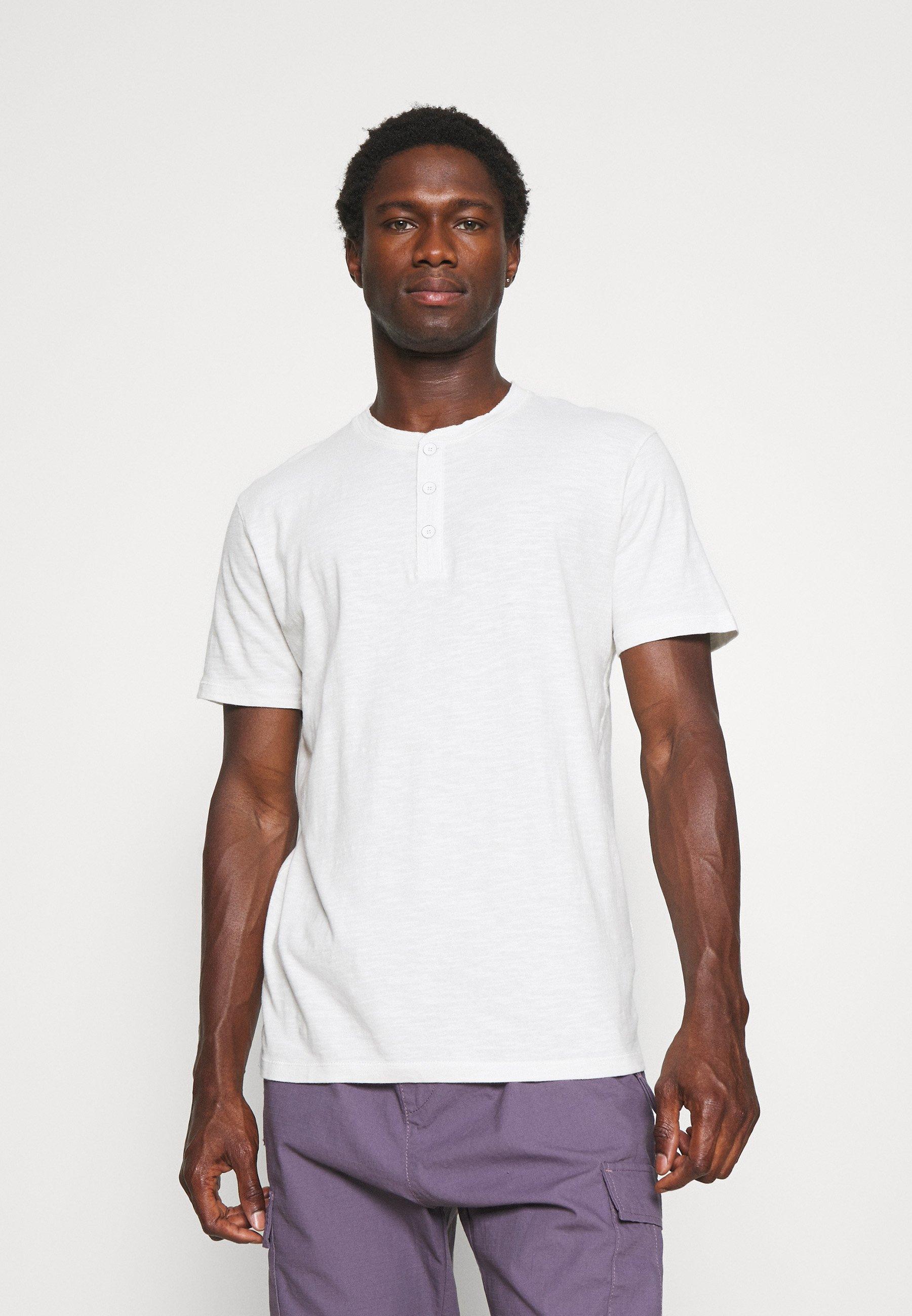 Men SLHDUKE SPLIT NECK TEE - Basic T-shirt