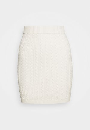 CABLE MINI SKIRT - Pencil skirt - white