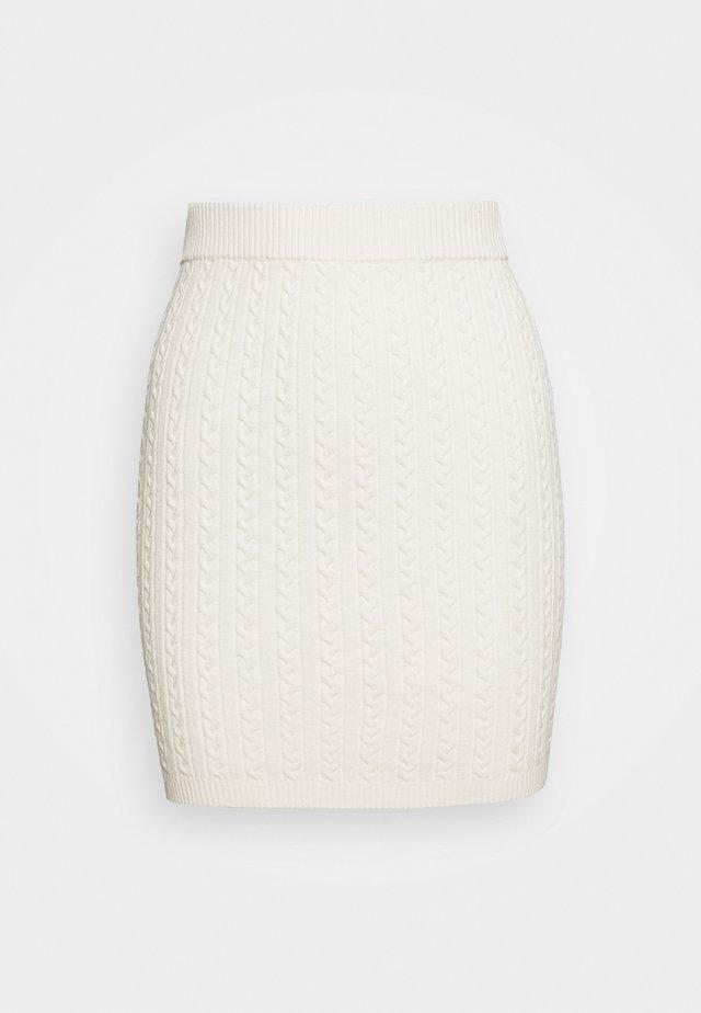 CABLE MINI SKIRT - Pencil skirt - white