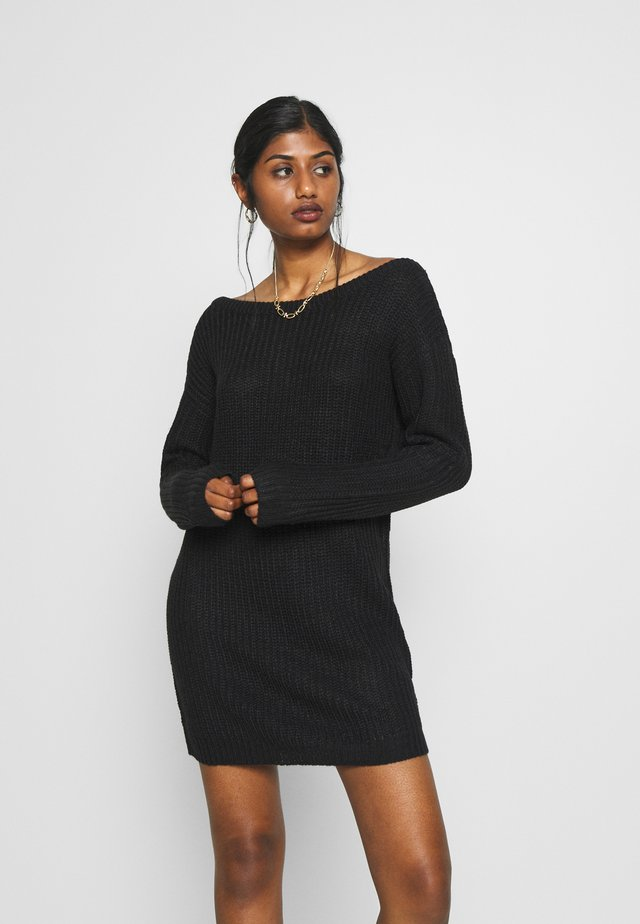 OFF SHOULDER JUMPER DRESS - Abito in maglia - black