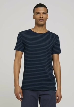 T-shirt print - navy blue tonal stripe