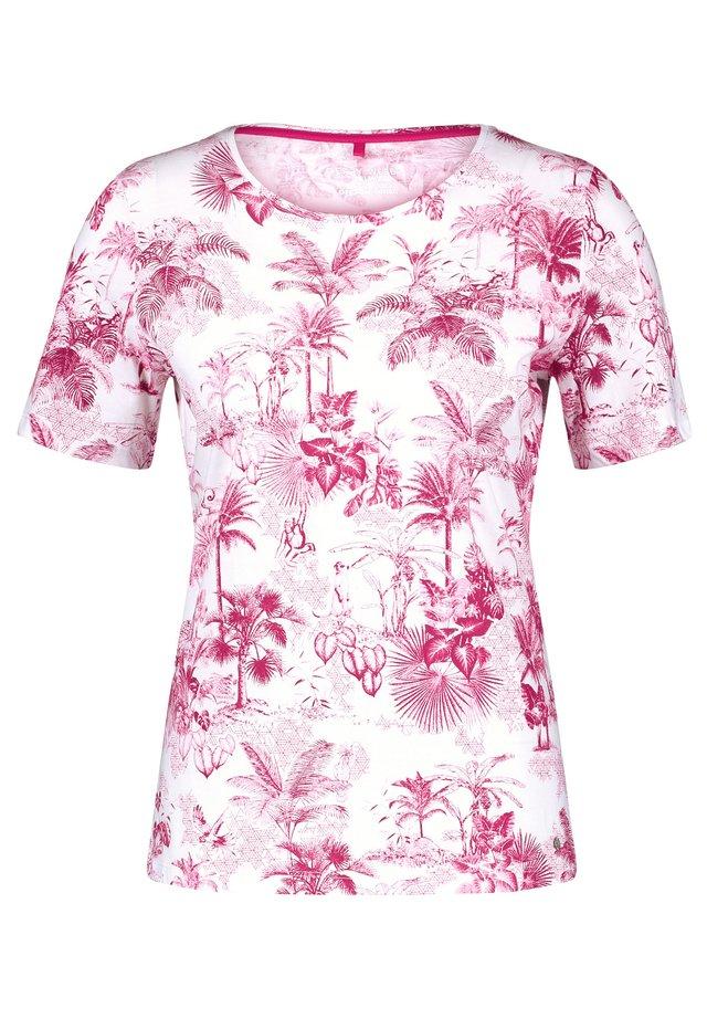 T-SHIRT 1/2 ARM 1/2 ARM SHIRT MIT PALMENPRINT - T-shirt print - ecru/weiss/lila/pink druck