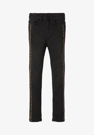 MIT GEPUNKTETER LEISTE - Straight leg jeans - black denim|black