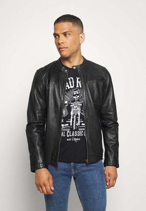EASY JIM - Leather jacket - black