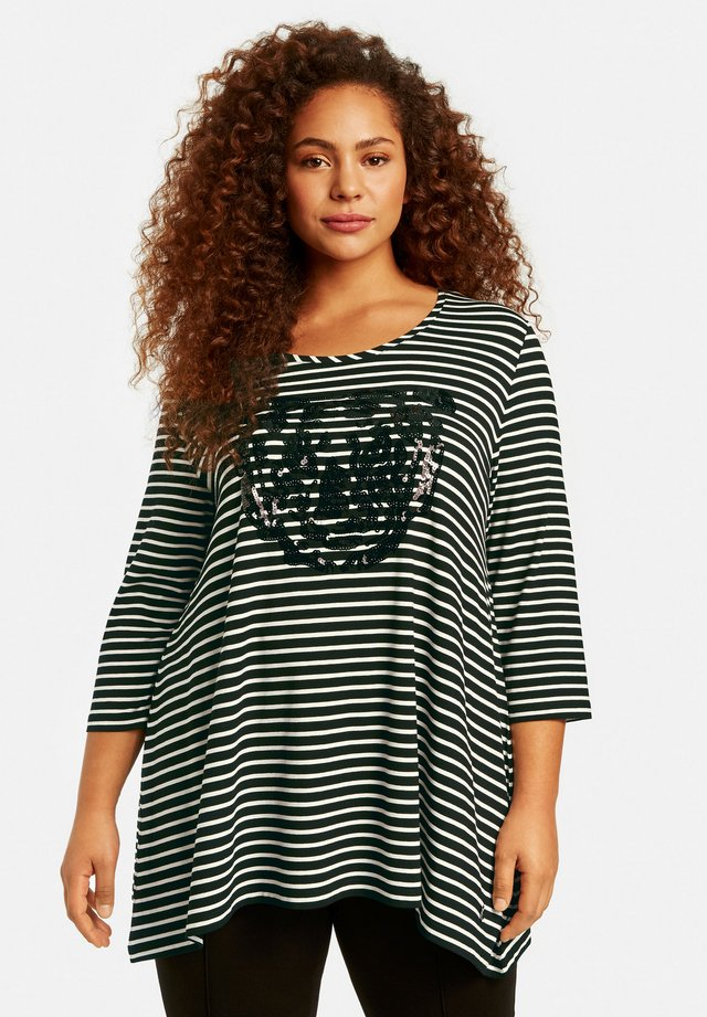 MIT TIGER-MOT - Long sleeved top - black/offwhite ringel