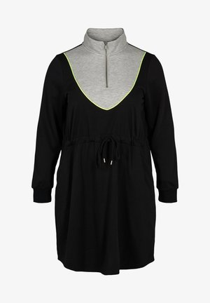 WITH POCKETS AND AN ADJUSTABLE WAIST - Jersey dress - black