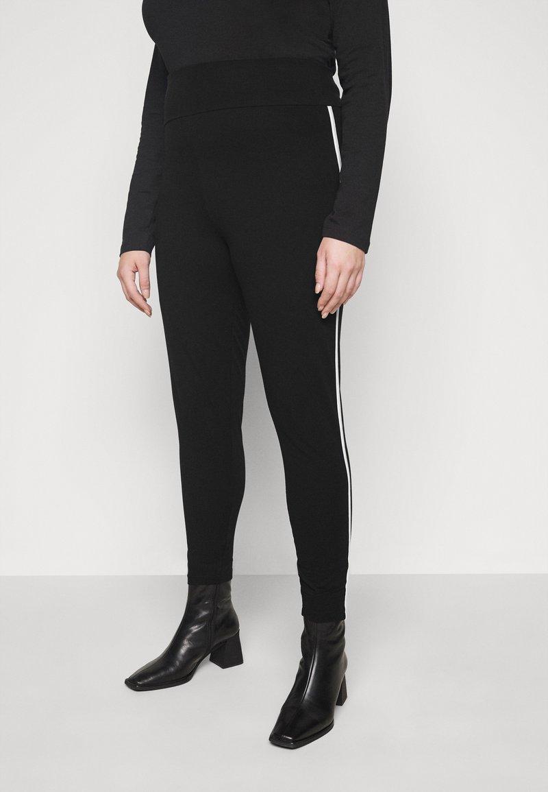 New Look Curves - WHITE SIDE STRIPE - Leggings - Trousers - black