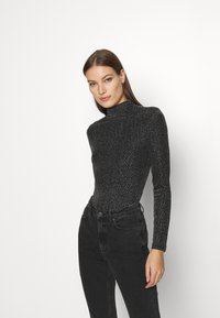Who What Wear - RUCHED TURTLENECK - Long sleeved top - black - 0