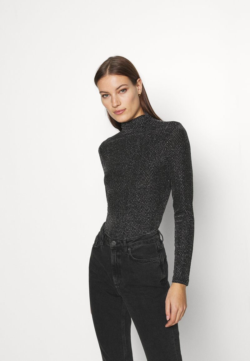 Who What Wear - RUCHED TURTLENECK - Long sleeved top - black