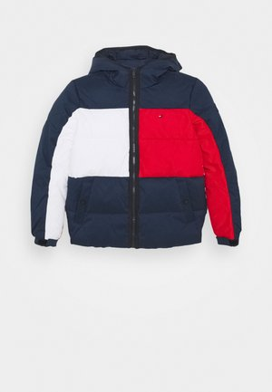 FLAG HOODED JACKET - Kurtka zimowa - blue