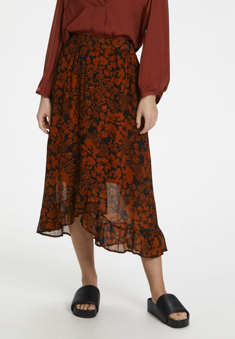 InWear - A-line skirt - cayenne poetic flower