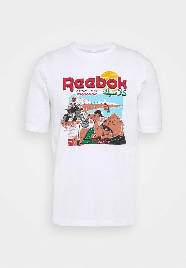 Reebok Classic SOUVENIR TEE - T-shirt z nadrukiem - white/biały Odzież Męska TUGW