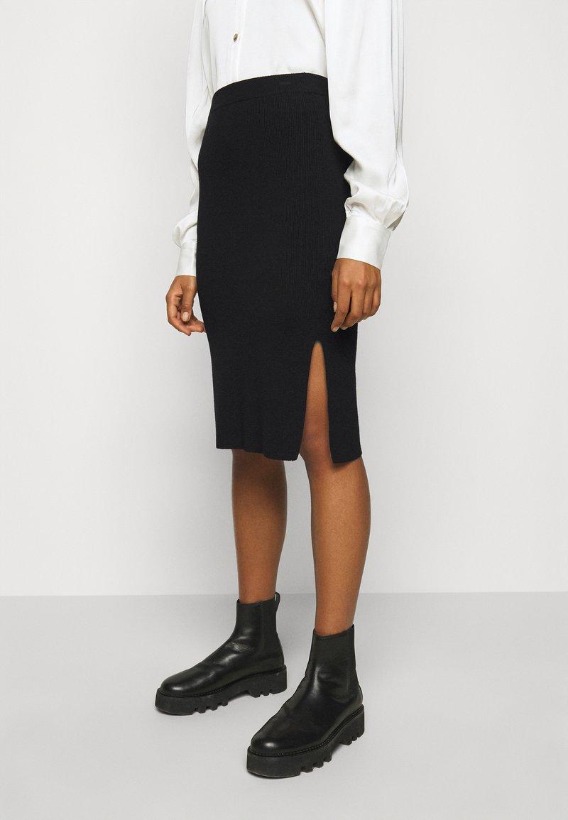 DESIGNERS REMIX - MANDY SLIT SKIRT - Pencil skirt - black