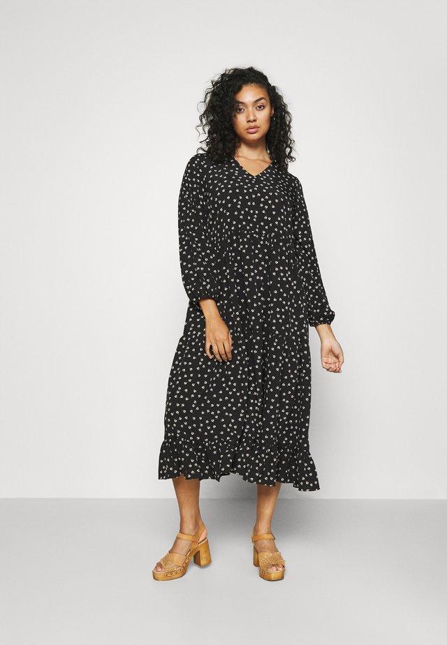 TIERED DRESS - Korte jurk - black tulip