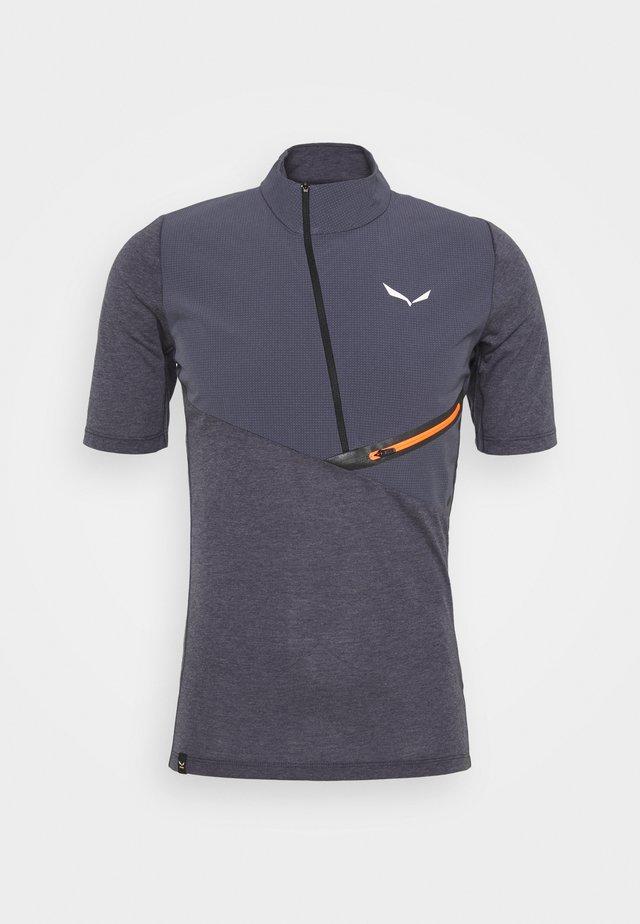 AGNER HYBRID DRY ZIP TEE - T-shirt z nadrukiem - navy melange