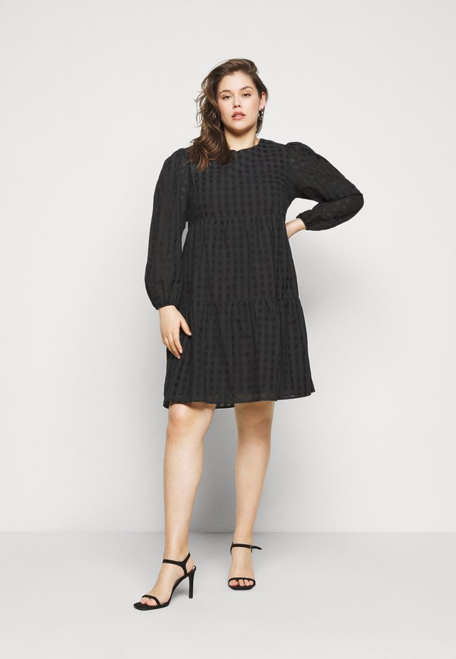 LADIES DRESS TONAL CHECK - Day dress - black
