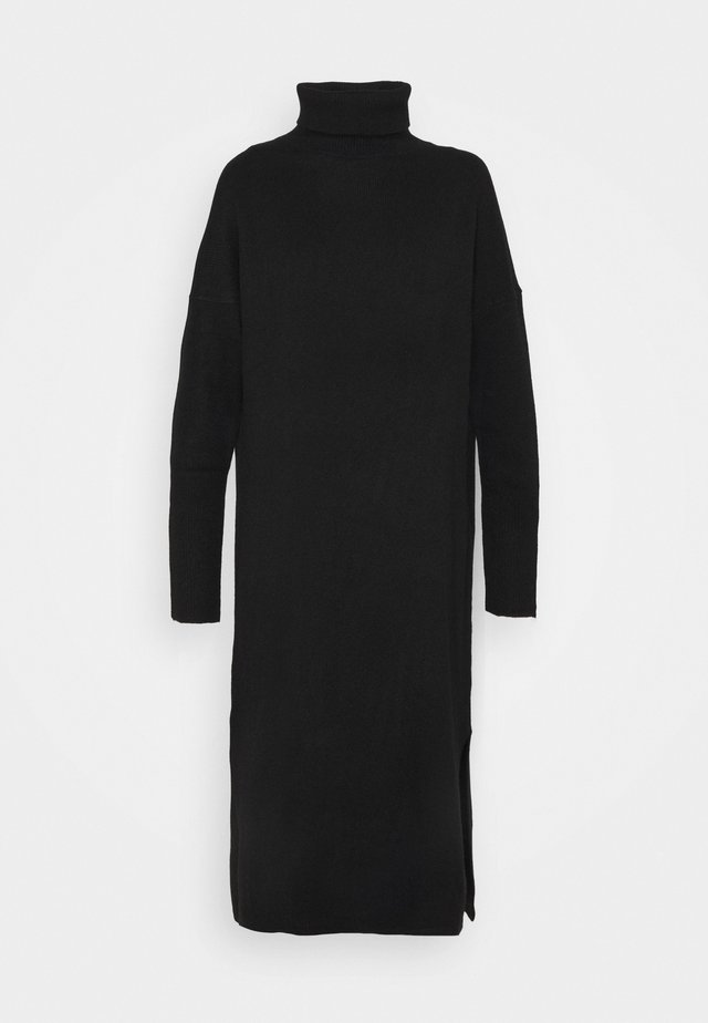 ROLL NECK DRESS - Pletené šaty - black