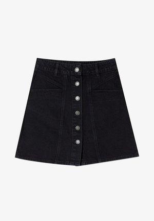 MIT KNÖPFEN - Denim skirt - black