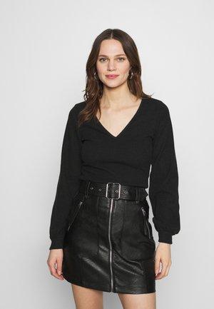 COZY TIE FRONT BODYSUIT - Sweter - black