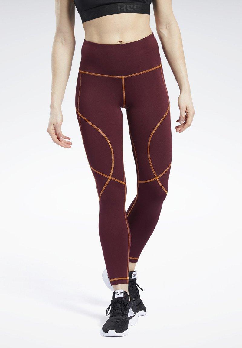 Reebok - MYT CONTRAST STITCH LEGGINGS - Leggings - burgundy