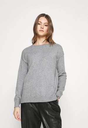 Strikkegenser - medium grey melange
