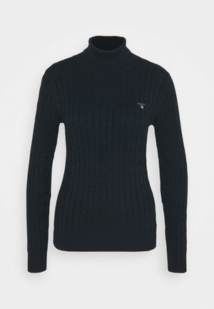 STRETCH CABLE TURTLE NECK - Maglione - evening blue
