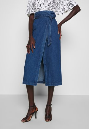SLFDEMINA SKIRT  - A-line skirt - dark blue denim