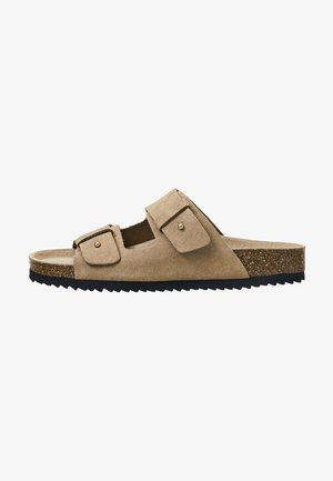 SPLIT-LEATHER SLIDER SANDALS - Slippers - beige