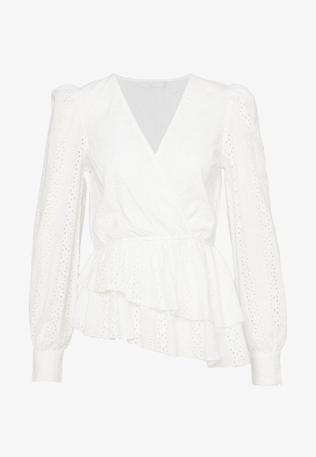 CROCHET WRAP - Bluser - white