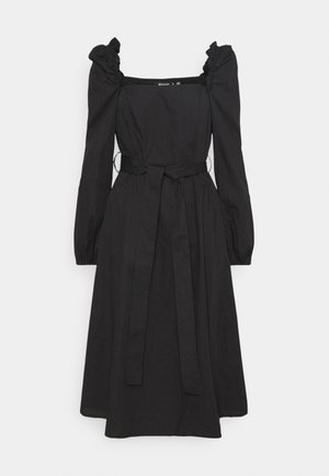 PUFF SLEEVE TIE WAIST MIDAXI DRESS - Day dress - black