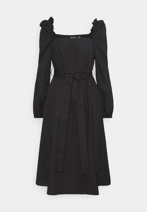 PUFF SLEEVE TIE WAIST MIDAXI DRESS - Kjole - black