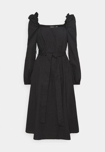 PUFF SLEEVE TIE WAIST MIDAXI DRESS - Day dress - black