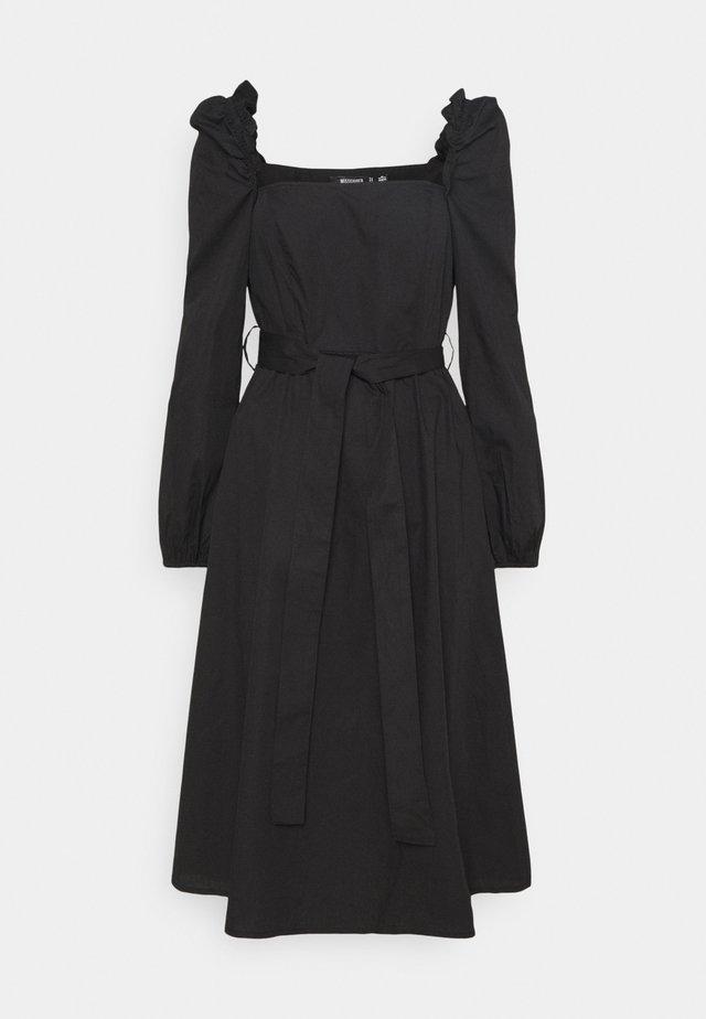 PUFF SLEEVE TIE WAIST MIDAXI DRESS - Korte jurk - black