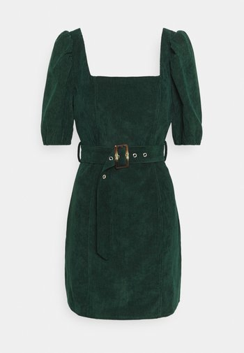 MILKMAID PUFF BELT SKATER DRESS - Shift dress - dark green