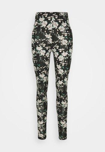 VIBE PRINT - Leggingsit - black/white/rose