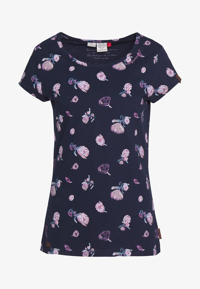MINT FLOWERS - Printtipaita - navy