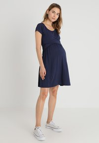 JoJo Maman Bébé - MATERNITY & NURSING WRAP DRESS - Jerseyjurk - midnight blue
