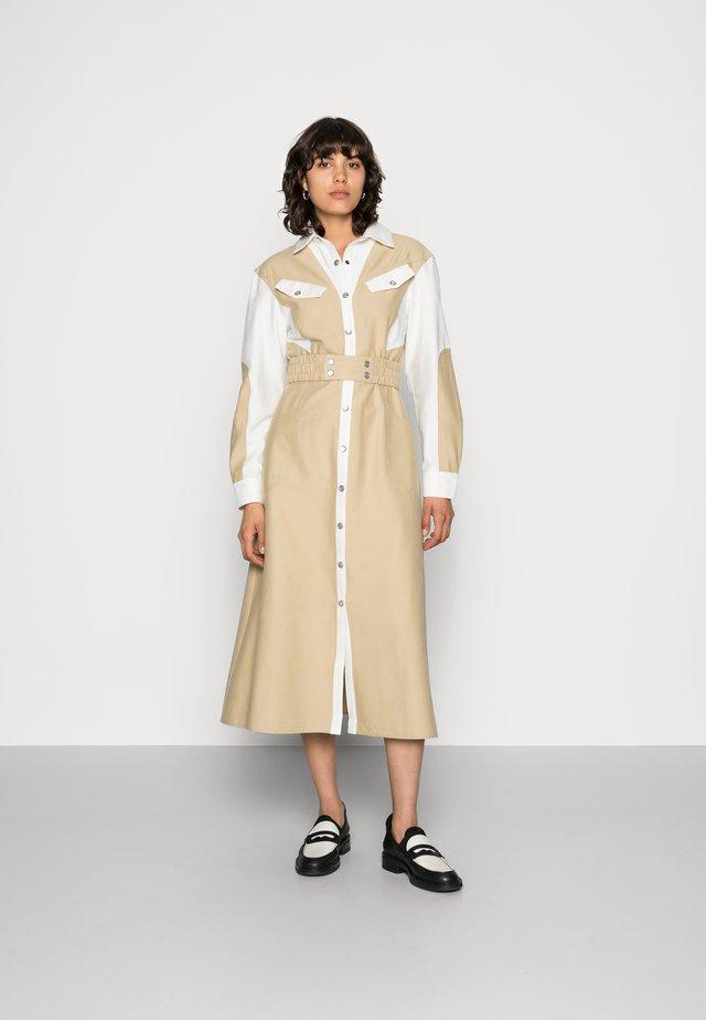 LONG BEFORE DRESS - Shirt dress - tan contrast