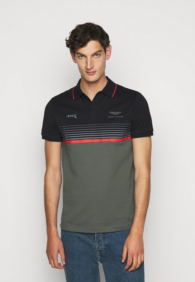 STRIPE BLOCK - Polo - black/green