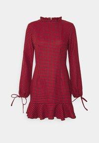 DOGTOOTH HIGH NECK FRILL HEM DRESS - Day dress - red