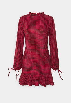 DOGTOOTH HIGH NECK FRILL HEM DRESS - Vestido informal - red