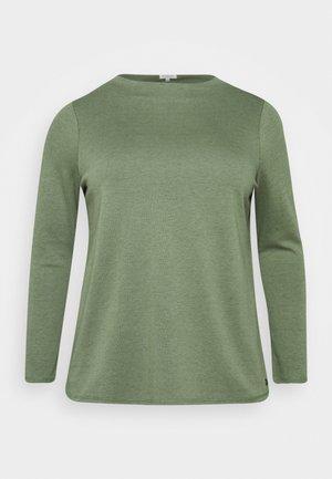 DOUBLE FACE TURTLE - Long sleeved top - greyish/green melange