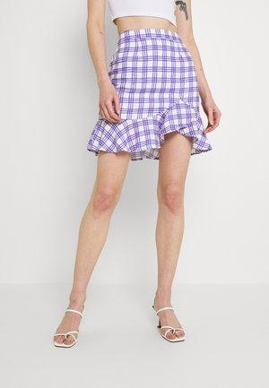 BOTTOM FLOUNCE MINI SKIRT - Mini skirt - blue