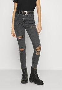Topshop - SRIP JAMIE - Jeans Skinny Fit - washed black - 0