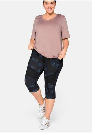 FUNKTIONS - 3/4 sports trousers - schwarz bedruckt
