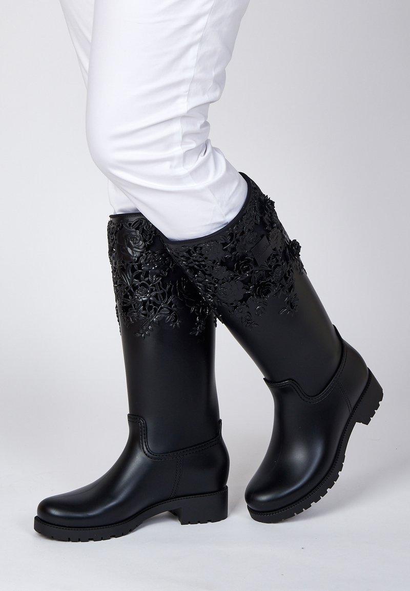 Melissa - FLOWER - Kowbojki i obuwie motocyklowe - black