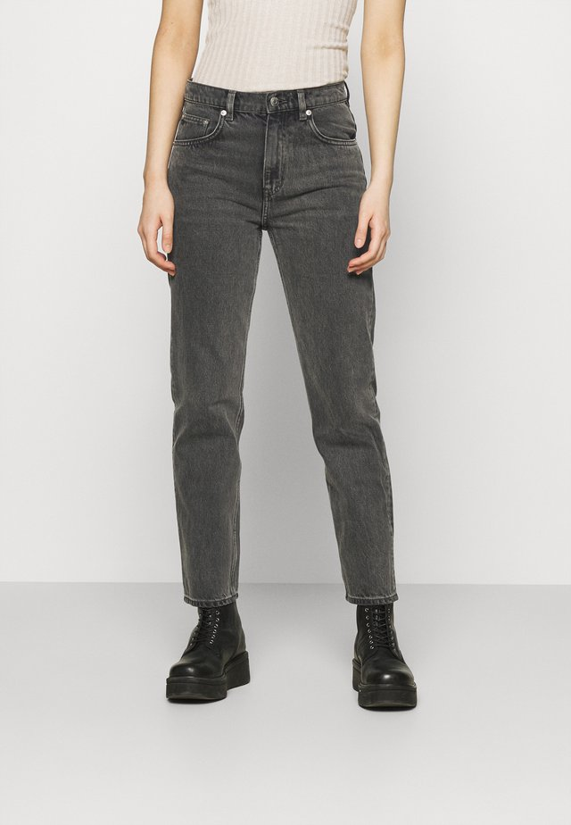 CROPPED RIGID VINTAGE - Džíny Straight Fit - washed black