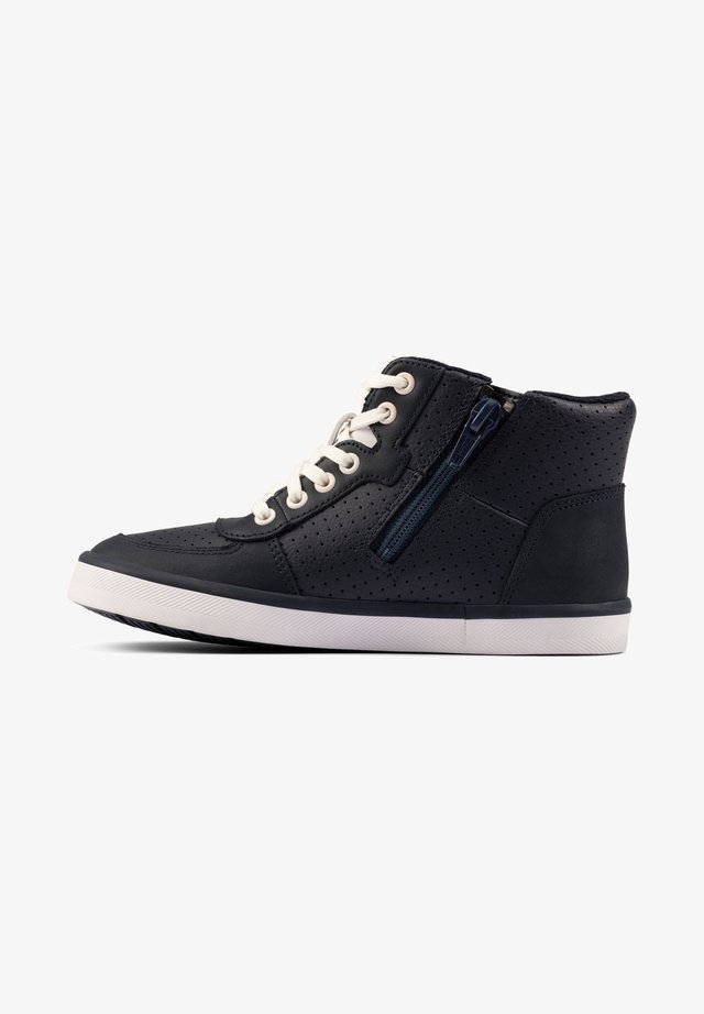 Lace-up boots - dunkelblaues leder